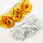 "3-3.5"" Gold & Silver Flowers on Stretch Headband .56 ea"