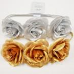 "3-3"" Gold & Silver Flowers on Stretch Headband .54 ea"