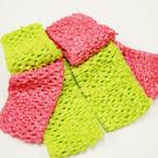 "3 Pack 2.5"" Crochet Headwraps Lime & Med. Pink Colors .52 per set"
