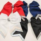 "6"" X 5.5"" Tail Gator Clip Bows w/ Sparkle Strips 4- Colors .54 ea"