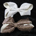 """5.5"""" Gold & Silver Sequin Gator CLip Bows .54 ea"""