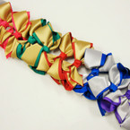 "5"" 2 Layer Color & Gold/Silver Ribbon Gator Clip Bows  .54 ea"