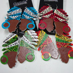 "2.5""Wood Earrings w/ Colorful Turbin  .54 ea"