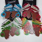 """2.5""""Wood Earrings w/ Colorful Turbin  .54 ea"""