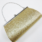 "4"" X 7"" Gold Glitter Evening Bag w/Silver Chain Strap sold by pc $ 2.00 ea"