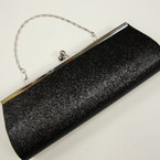"4"" X 10.5"" Black Glitter Evening Bag w/Silver Chain Strap sold by pc $ 2.50 ea"