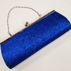 "4"" X 10.5"" Royal Blue Glitter Evening Bag w/Silver Chain Strap sold by pc $ 2.50 ea"