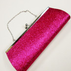 "4"" X 10.5"" Hot Pink Glitter Evening Bag w/Silver Chain Strap sold by pc $ 2.50 ea"