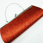 "4"" X 10.5"" Red Glitter Evening Bag w/Silver Chain Strap sold by pc $ 2.50 ea"