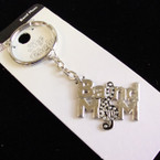Metal Silver BAND MOM Keychains 12 per pk .62 ea