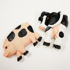 "3"" Cow & Pig Anywhere Poly Resin Magnets 28 pc bx @ .25 ea"