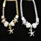 Magnetic Pandora Style  Bracelet w/ Starfish Charm .56 ea