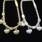 Magnetic Pandora Style  Bracelet w/ Triple Love Heart  Charms .56 ea