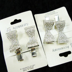 """2 Pk Silver 2"""" Bow Style Gator  Clips w/ Crystal Stones  .54 per set of 2"""