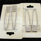 """2 Pk Silver 2"""" Hair Clips w/ Crystal Stones  .54 per set of 2"""
