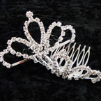 "2.5"" Rhinestone Silver Tiara Comb All Clear Rhinestones (89) .54 ea"