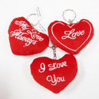 "3.5"" Plush Red Heart Vibating Pull String Keychains 24 per display .60 ea"