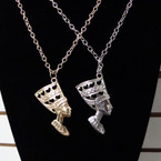 "28"" Gold & Silver Chain Necklace w/ 2.5"" African Lady Head Pend. .54 ea"