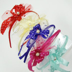Kid's Cute Colorful Headbands w/ Poka Dot Ribbon & Lace 12 per pk .21 ea