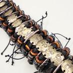 Teen Leather Bracelet  Triple Line w/ Gold Zodiac Plaque .54 ea