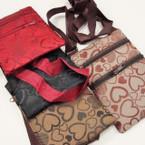 """4"""" X 6"""" 2 Zipper Lg. Strap Side Bag w/ Heart Pattern .54 ea"""