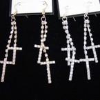 """2.5"""" Gold & Silver 2 Line Rhinestone Cross Earrings .56 ea pr"""