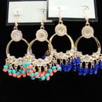 Cast Gold Fashion Earring w/ Colorful Dangle Beads .56 ea