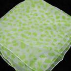 """19"""" Square White Scarf w/ Lime Green Print 12 per pk .42 ea"""