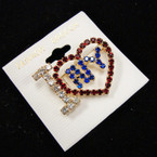 "SPECIAL 1.5"" I Love NY Rhinestone Broach sold by pc $ 1.50 ea"