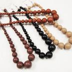 Brown Tone & Black Bead Necklace Set 6 per pk @ .50 per set
