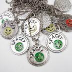 Silver Ball Chain Necklace w/ Alien  Bottle Cap Pendant .33 ea