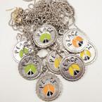 Silver Ball Chain Necklace w/ Peace  Bottle Cap Pendant .33 ea