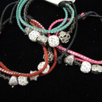 3 Srand Cord Studded Bracelet w/ Mixed Sider Charms .54 ea