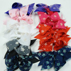 "5"" 2 Layer Gator Clip Bow w/Sparkle Flower Ribbon on Chiffon  .54 ea"