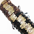 Popular Teen Leather Bracelet w/  Gold Zodiac's .54 ea