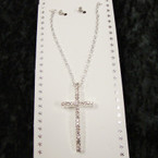 "Silver Chain Neck Set w/ 2"" Crystal Stone Cross Pendant .54 per set"