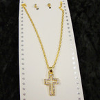 Gold Chain Neck Set w/ Open Crystal Stone Cross Pendant .54 per set