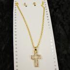 Gold Chain Neck Set w/ Open Crystal Stone Cross Pendant .54 per set