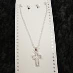 SIlver Chain Neck Set w/ Open Crystal Stone Cross Pendant .54 per set