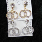 Elegant Crystal Stone DBL Circle Gold/Silver Earrings .54 ea