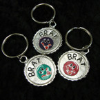CLOSEOUT Metal Brat Theme Expression Bottle Cap Keychains 12 per pk @ .25 ea
