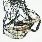 "16"" Leather Cord Necklace w/ Glass Beads 12 per pk @ .44 ea"