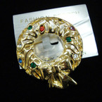 "1.5"" Cast Gold Wreath Broach w/ Crystal Stones 12 per pk @ .60 ea"
