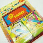 12 White 12 Colored Chalk Set w/ Eraser 12 sets per pk @ .58 per set