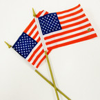 "4"" X 6"" USA Fabric Flag on Gold Stick  12 per pk @ .33 ea"