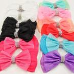 """5"""" 2 Layer Soft Fabric Bows w/ Cry. Stones .54 ea"""