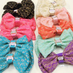"5"" 2 Layer Soft Fabric Bows w/ Gold Thread & Cry. Stones .54 ea"