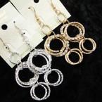Gold & Silver Multi Ring Earrings w/ Rhinestone Rings .54 ea
