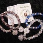10MM Crystal Bead Stretch Bracelets w/ San Benito Charm .54 ea