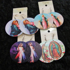 "2"" Picture Earrings Mother Mary/Jesus .54 per pair"